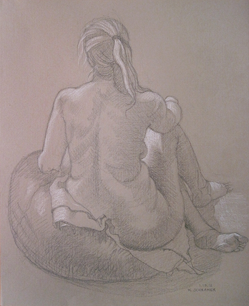 Kelli at Susan's (seated, beanbag, back view), 2013.  Graphite and white chalk on tan laid paper, 9.5 x 11.75 inches.