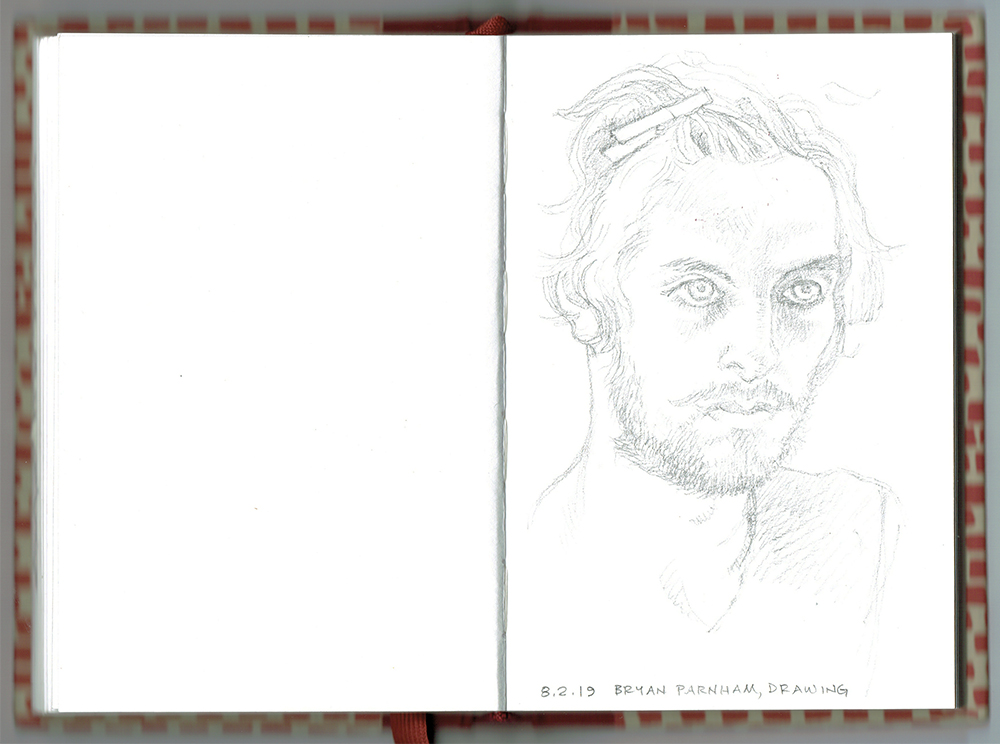 sketchbook open to drawing of Bryan Parnham