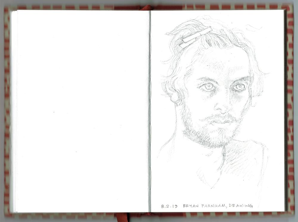 sketchbook open to drawing of Bryan Parnham